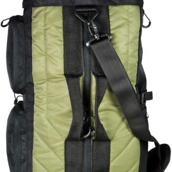 green and black duffle